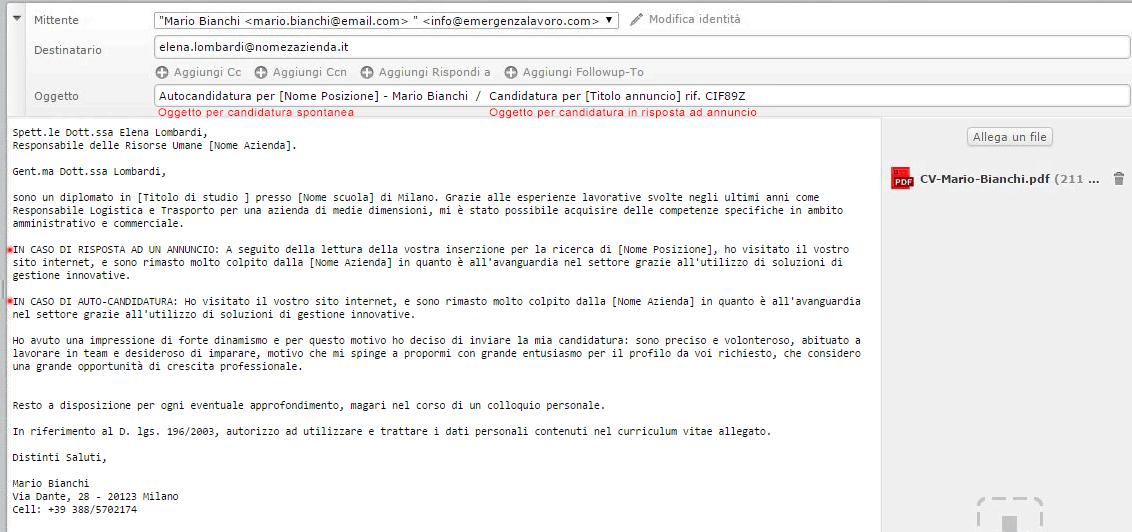 Esempio di come inviare una candidatura via mail